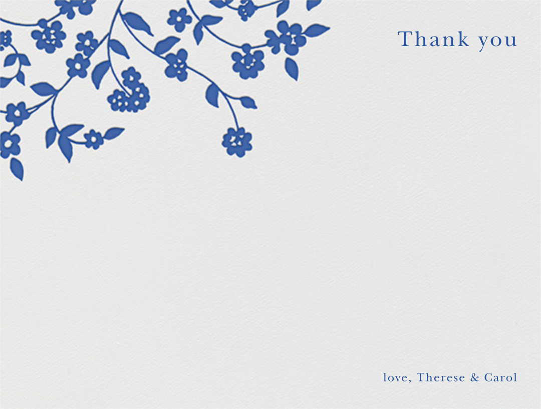 Floral Trellis I (Stationery) - Regent Blue - Oscar de la Renta - Wedding