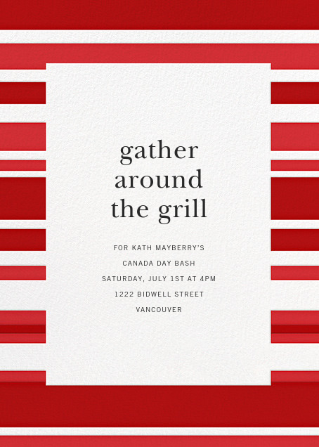 Patriotic Stripes - Red - Paperless Post - Canada Day