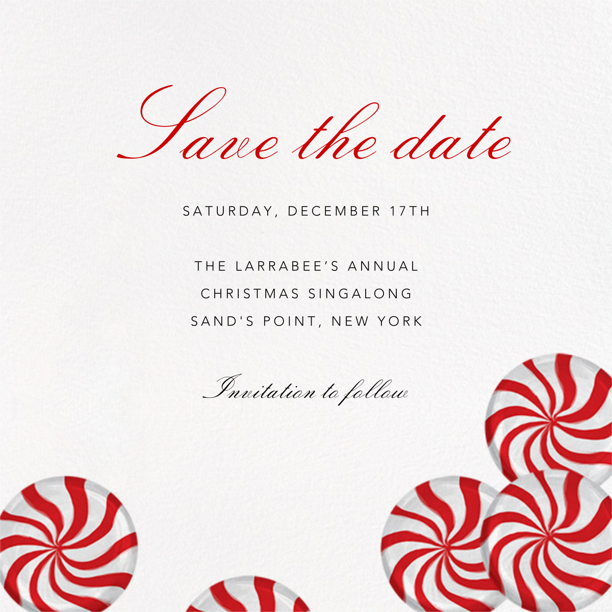 Peppermints on Ivory - Paperless Post - Holiday save the dates