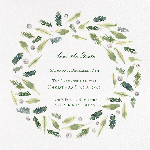 Beacon Hill Wreath - Paperless Post - Save the date