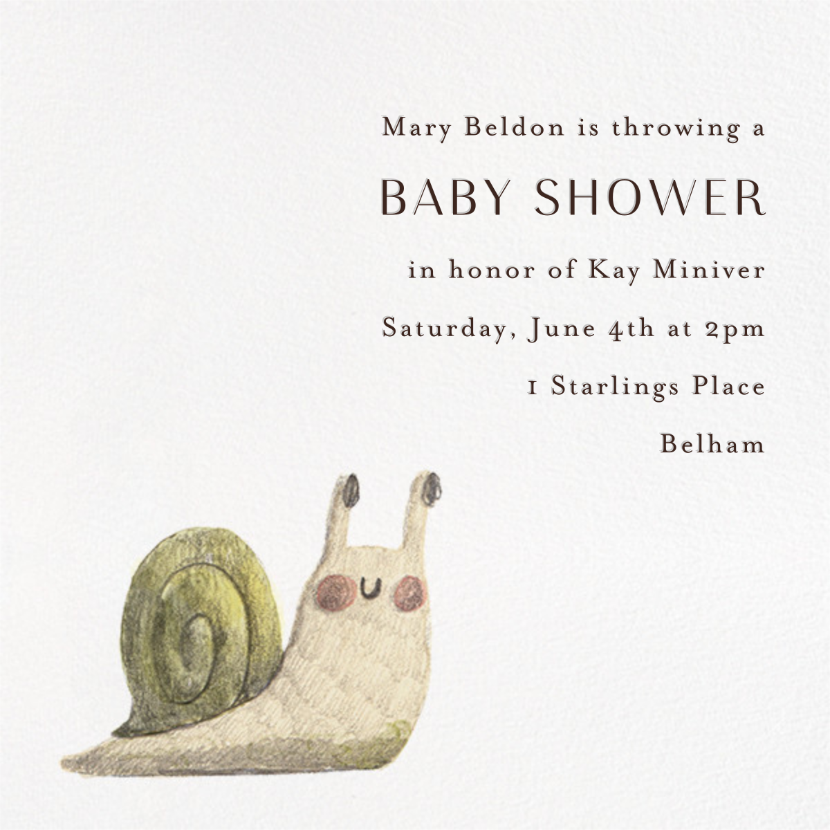 Hail to the Snail - Paperless Post - Baby shower