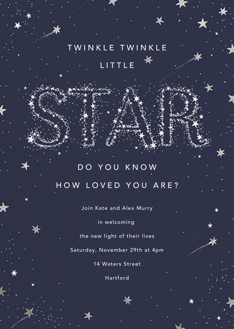 Twinkle Twinkle Little Star - Silver - Paperless Post - Baby shower