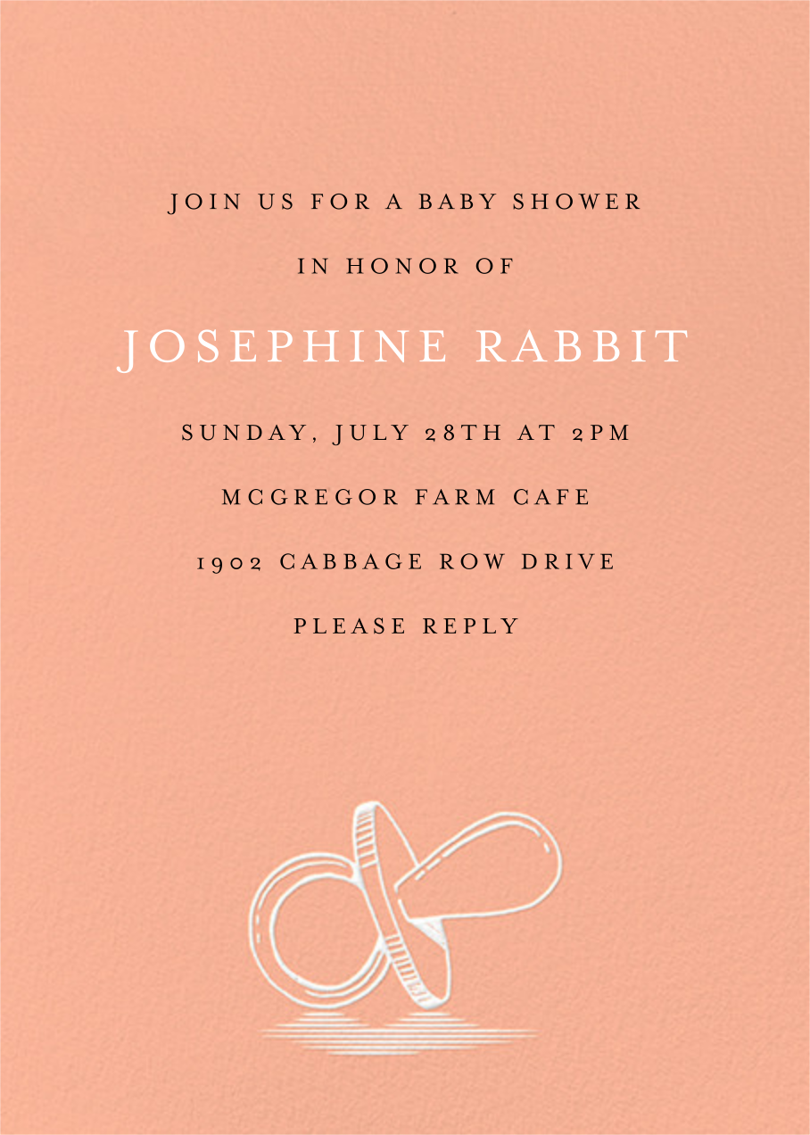 Pacified - Sherbet - Paperless Post - Baby shower