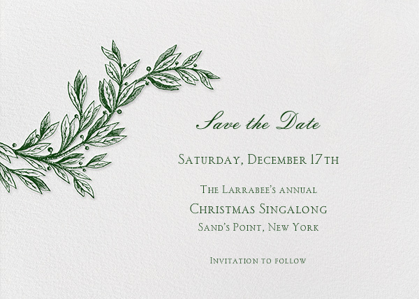 Winter Sprig - Hunter - Paperless Post - Save the date