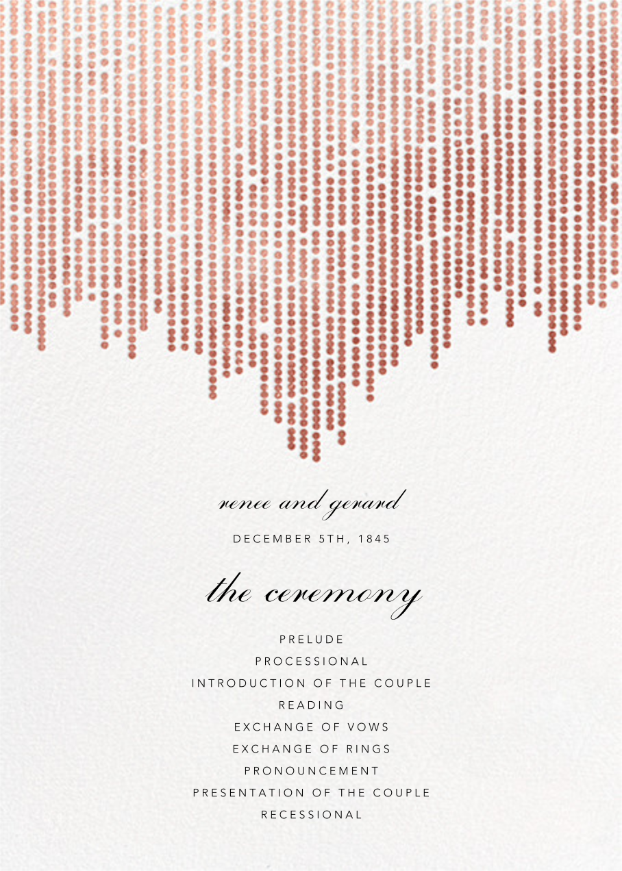 Josephine Baker (Program) - White/Rose Gold - Paperless Post - Menus and programs