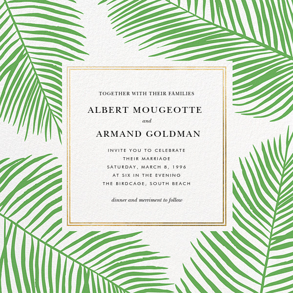 Palmier III (Invitation) - Green/Gold - Paperless Post - All