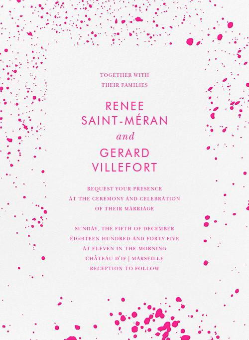 Splatter Cloth I (Invitation) - Neon Pink - Paperless Post - All