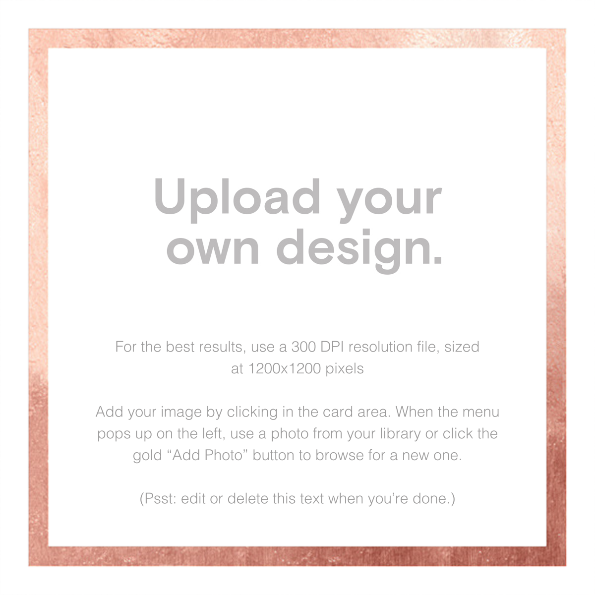 Custom Foil (Two-Sided Square) - Rose Gold - Paperless Post - Graduation party
