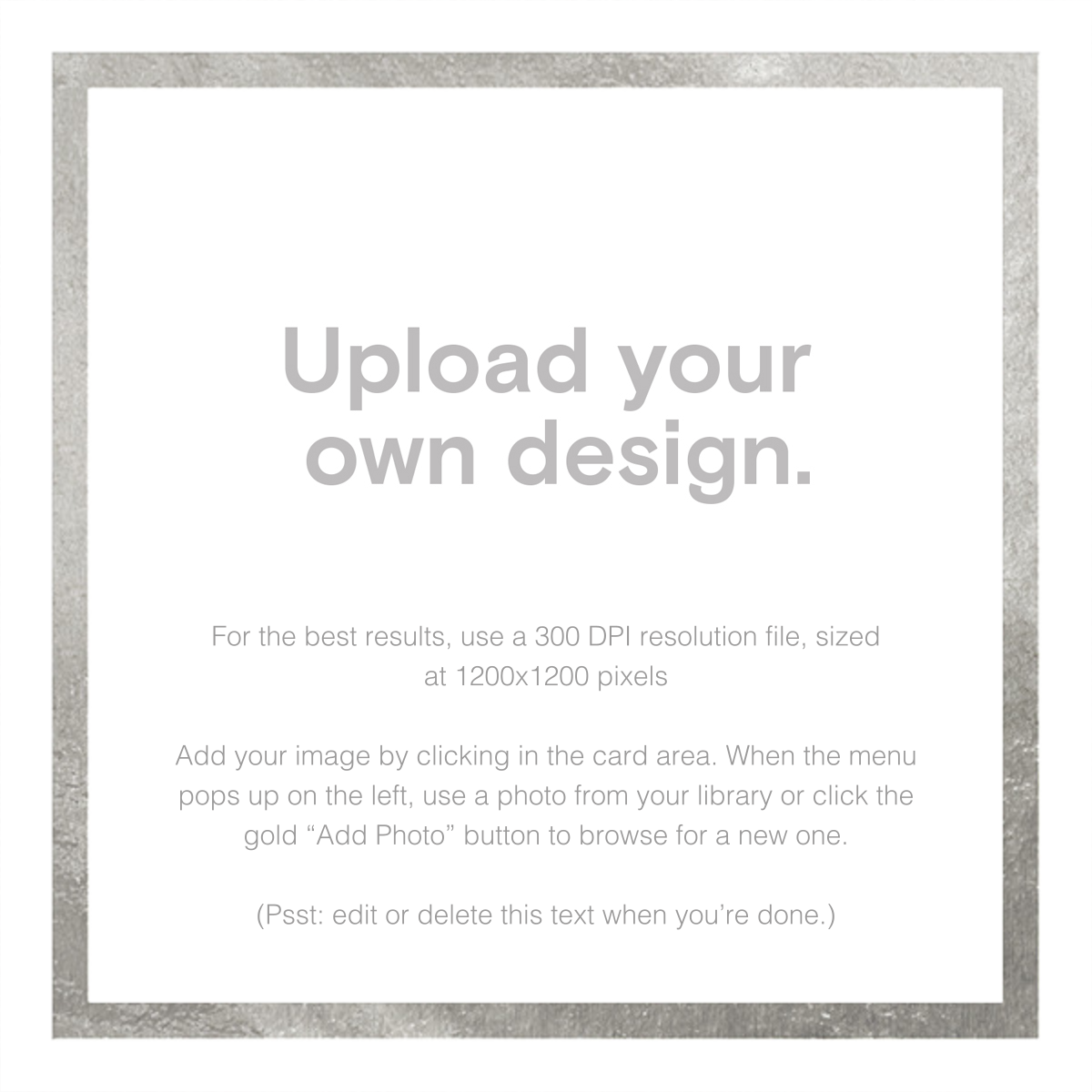 Custom Foil (Two-Sided Square) - Silver - Paperless Post - Upload your own