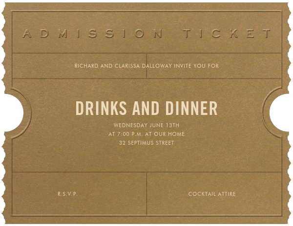 Golden Ticket (Tabac) - Paperless Post - General entertaining