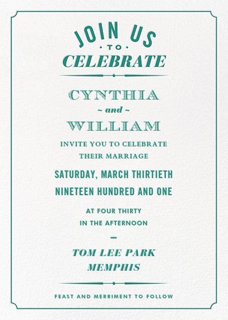 Seal the Date (Invitation) - Teal - Paperless Post - All