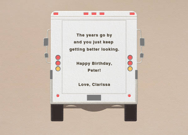 Birthday Wishes - Delivery Truck - Paperless Post - Birthday - card back