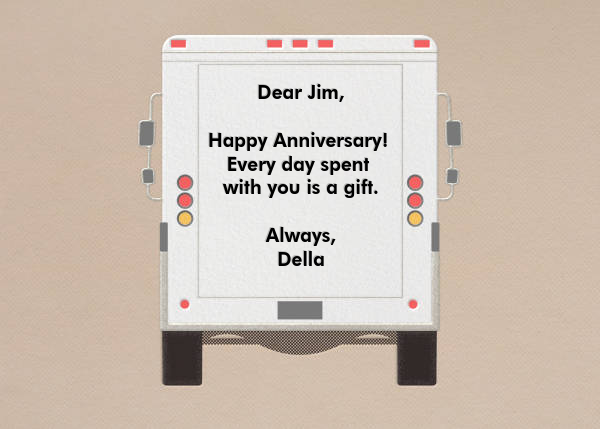 Adoration - Delivery Truck - Paperless Post - Anniversary cards - card back