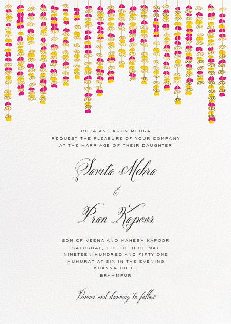Under the Toran (Invitation) - Bright Pink - Paperless Post - All