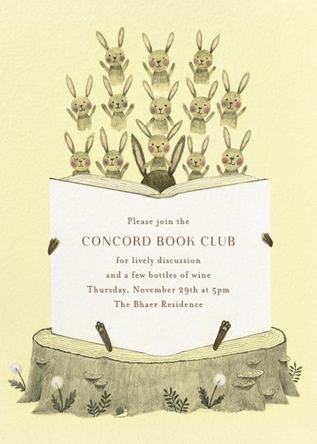 Bunny Bibliophiles - Paperless Post - Book club