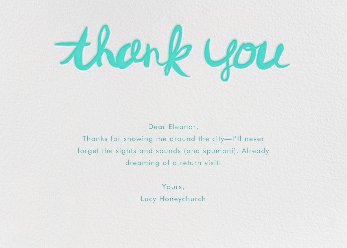 Brushed Thank You - Persian Green - Linda and Harriett - General
