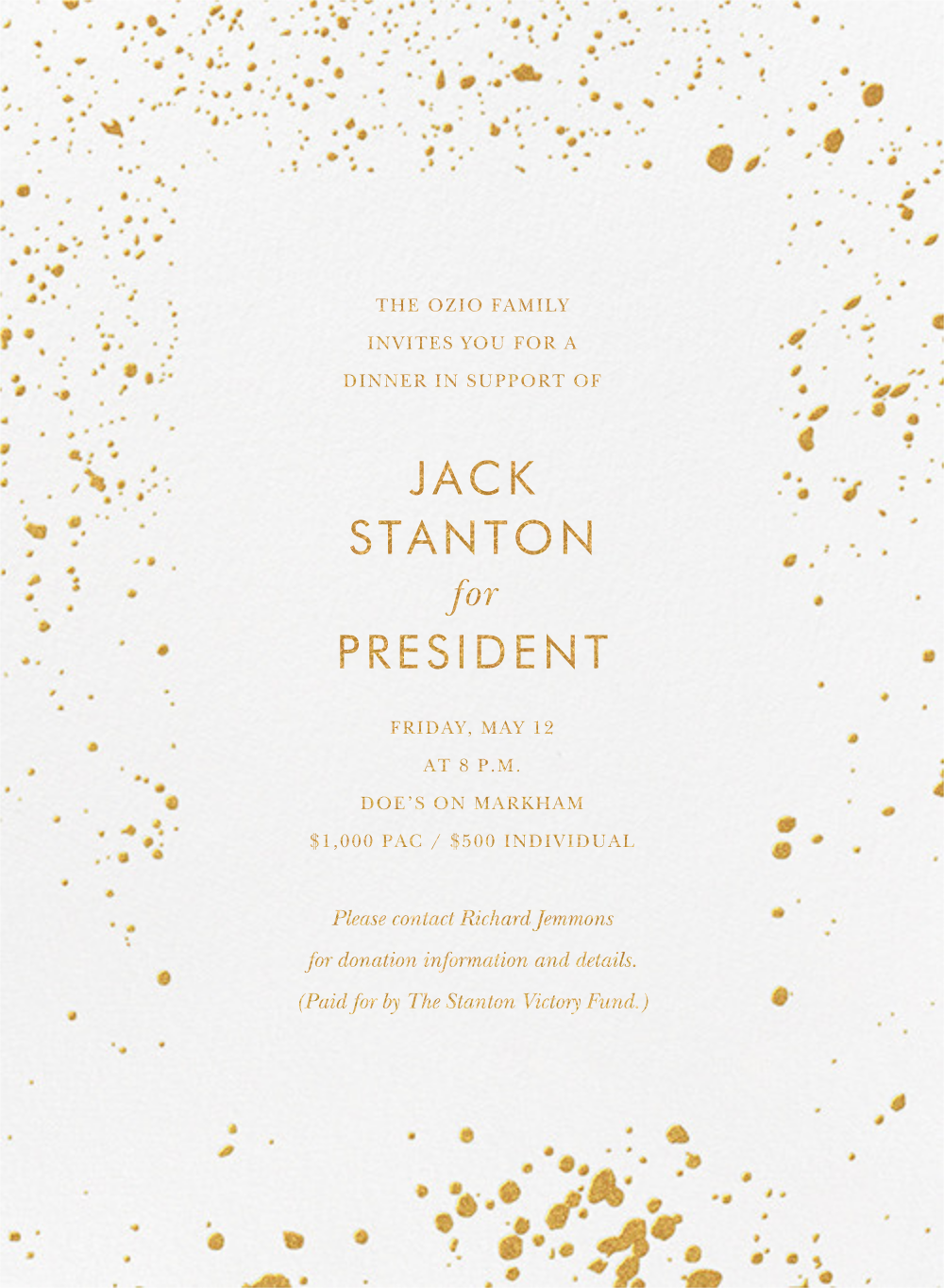 Splatter Cloth I (Invitation) - Gold - Paperless Post - Charity and fundraiser