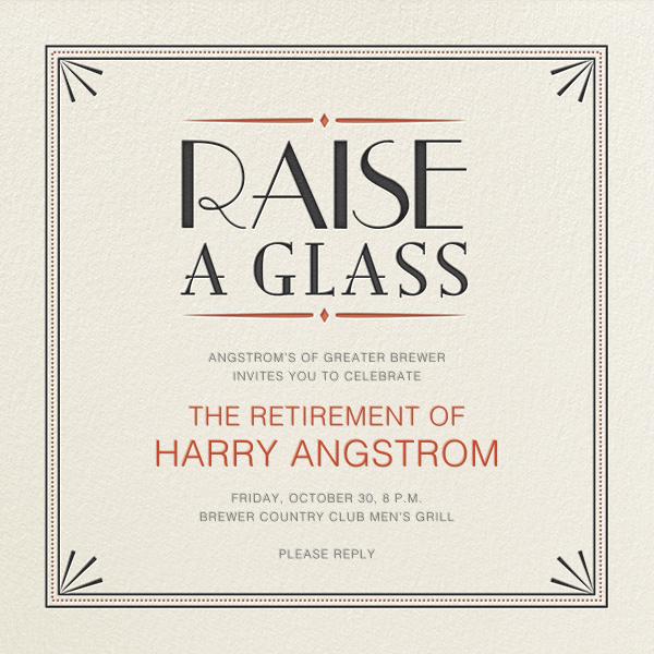 Raise a Glass - Crate & Barrel - Retirement party