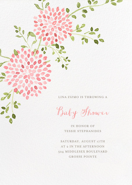 Dahlias (Tall) - Pink - Paperless Post - Baby shower