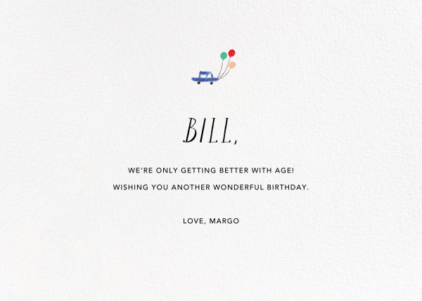 Mr. Bernstein's Balloon Ride - Mr. Boddington's Studio - Birthday - card back