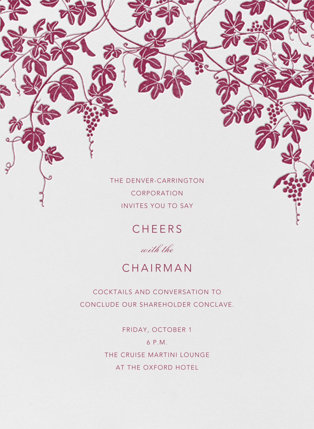 Vineyard I (Invitation) - Burgundy - Paperless Post - Professional events