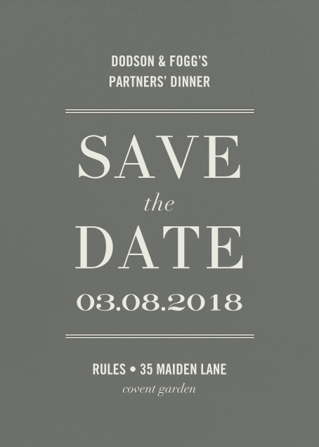 Typographic II (Save the Date) - Gray - kate spade new york - Event save the dates