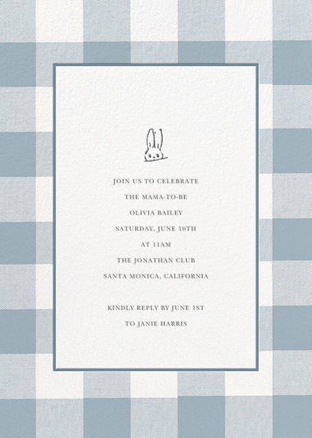 Buffalo Check Bunny - Blue - Sugar Paper - Baby shower