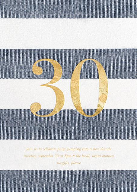 Chambray Stripe - Thirty - Sugar Paper - Adult birthday