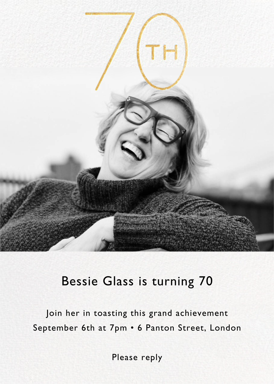 Decade Photo (Seventy) - Gold - Paperless Post - Adult birthday