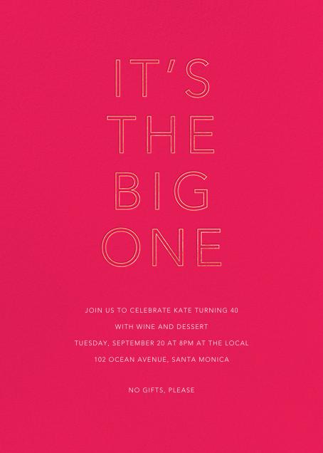 One Big Birthday - Bright Pink - Sugar Paper - Adult birthday