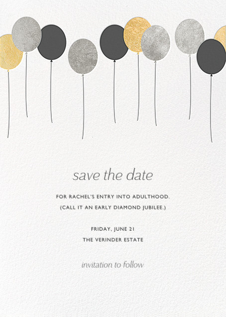 Balloons - Metallic - Paperless Post - Party save the dates