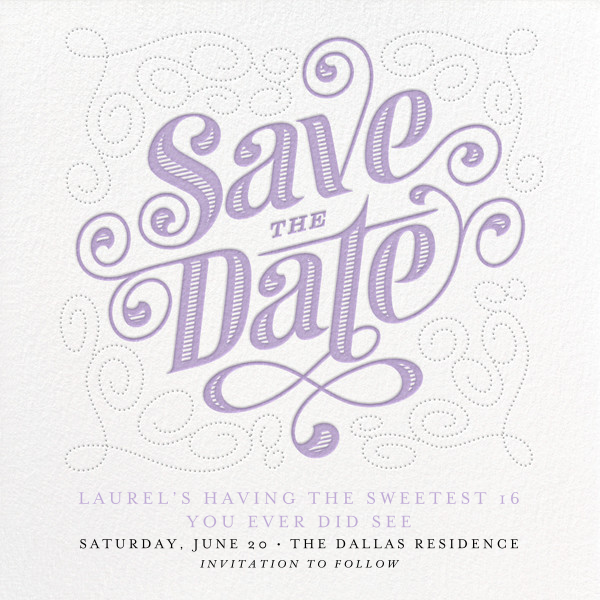 Mercer (Save the Date) - Wisteria - Paperless Post - Birthday save the dates