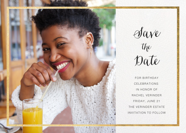 Idylle (Photo Save the Date) - White/Gold - Paperless Post - Party save the dates