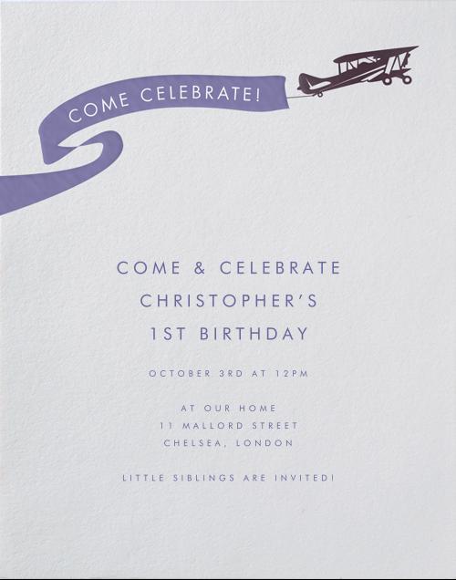 Biplane - Paperless Post - 1st birthday