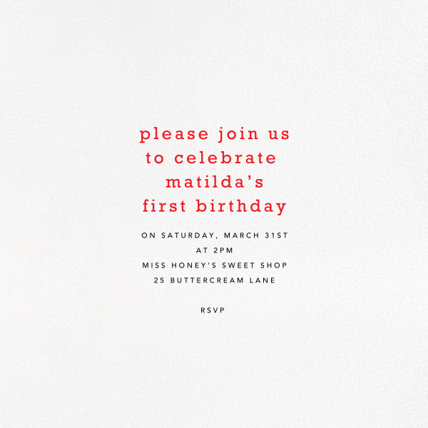 Birthday Treats - Petit Collage - 1st birthday - card back