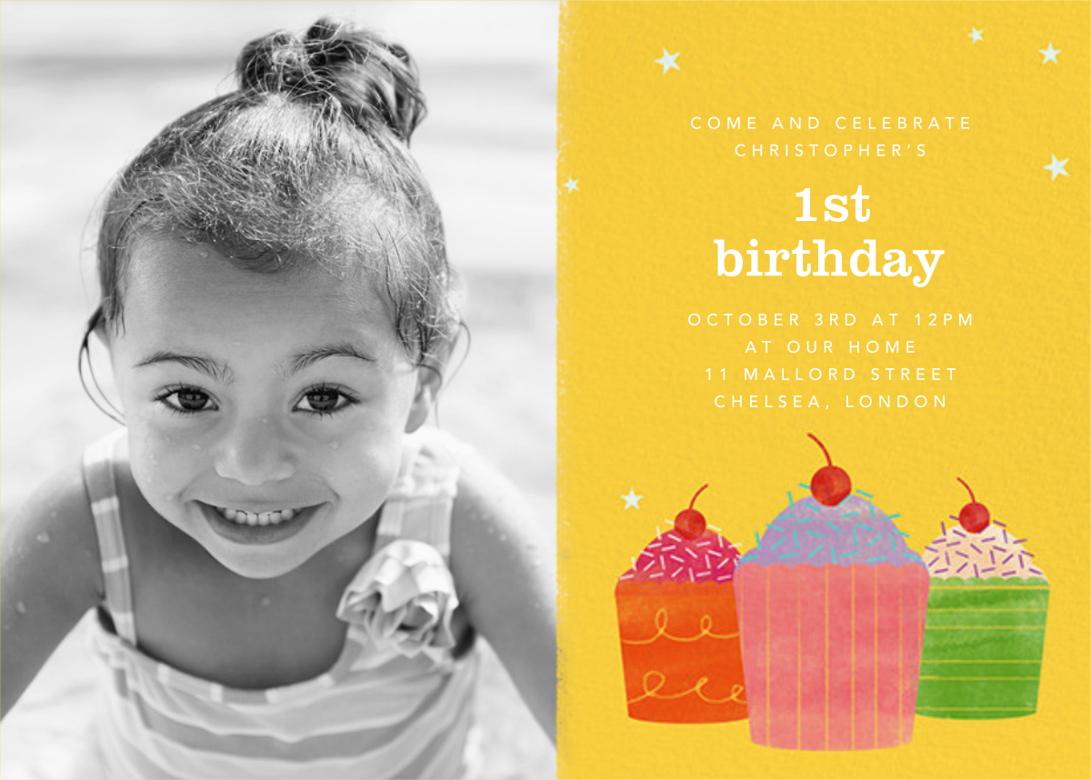Cupcake Social (Photo) - Paperless Post - 1st birthday