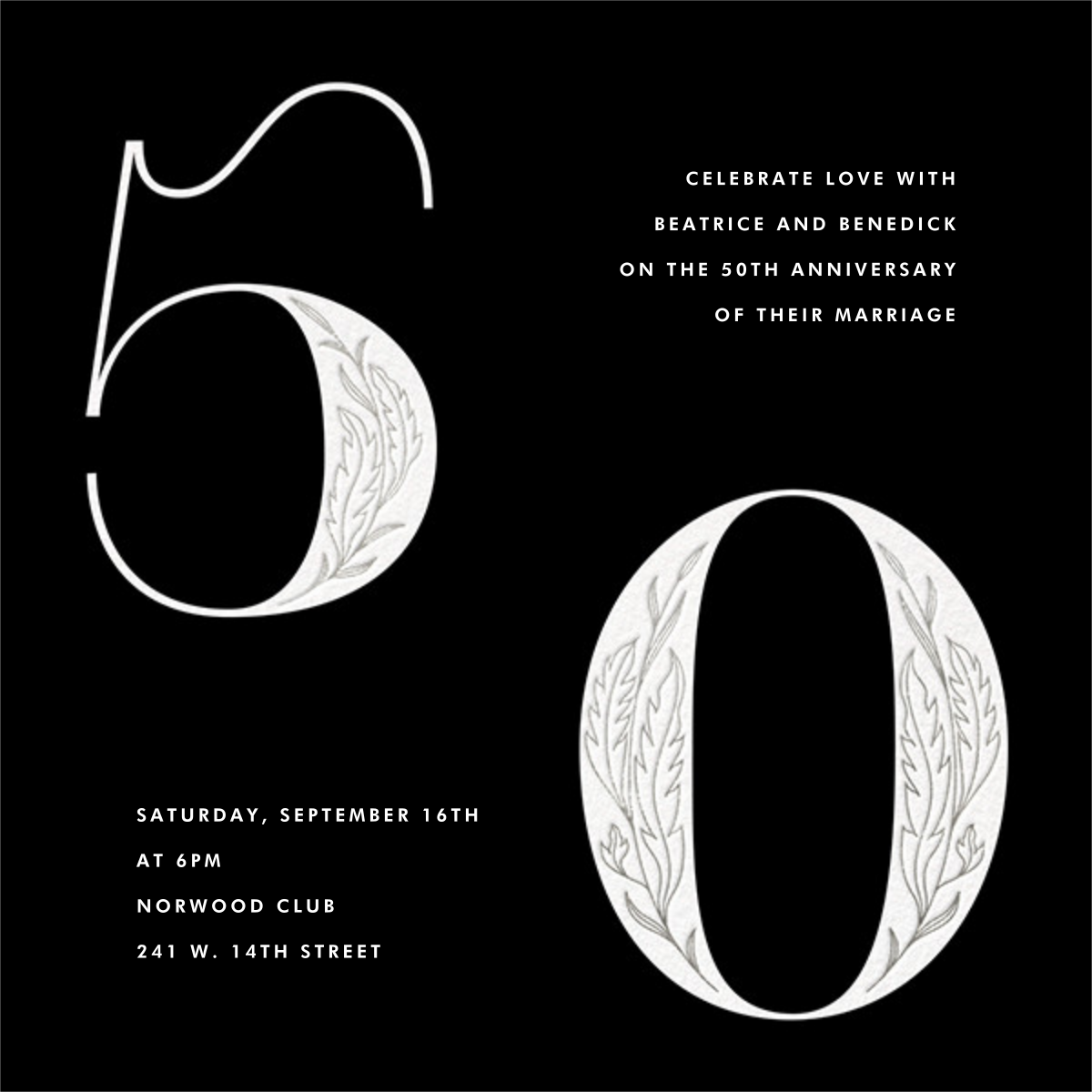 Nouveau Numerals - Fifty - Paperless Post - Anniversary party