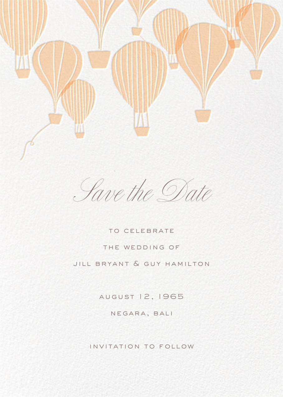Hot Air Balloon Cluster - White/Bellini - Paperless Post - Save the date