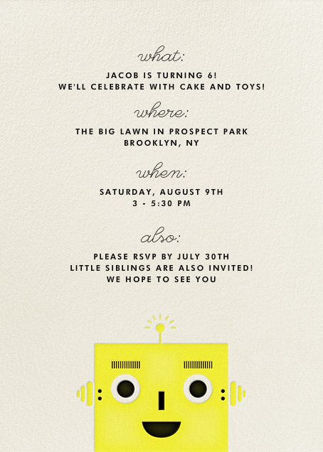 Robot - Yellow - The Indigo Bunting - Kids' birthday - card back