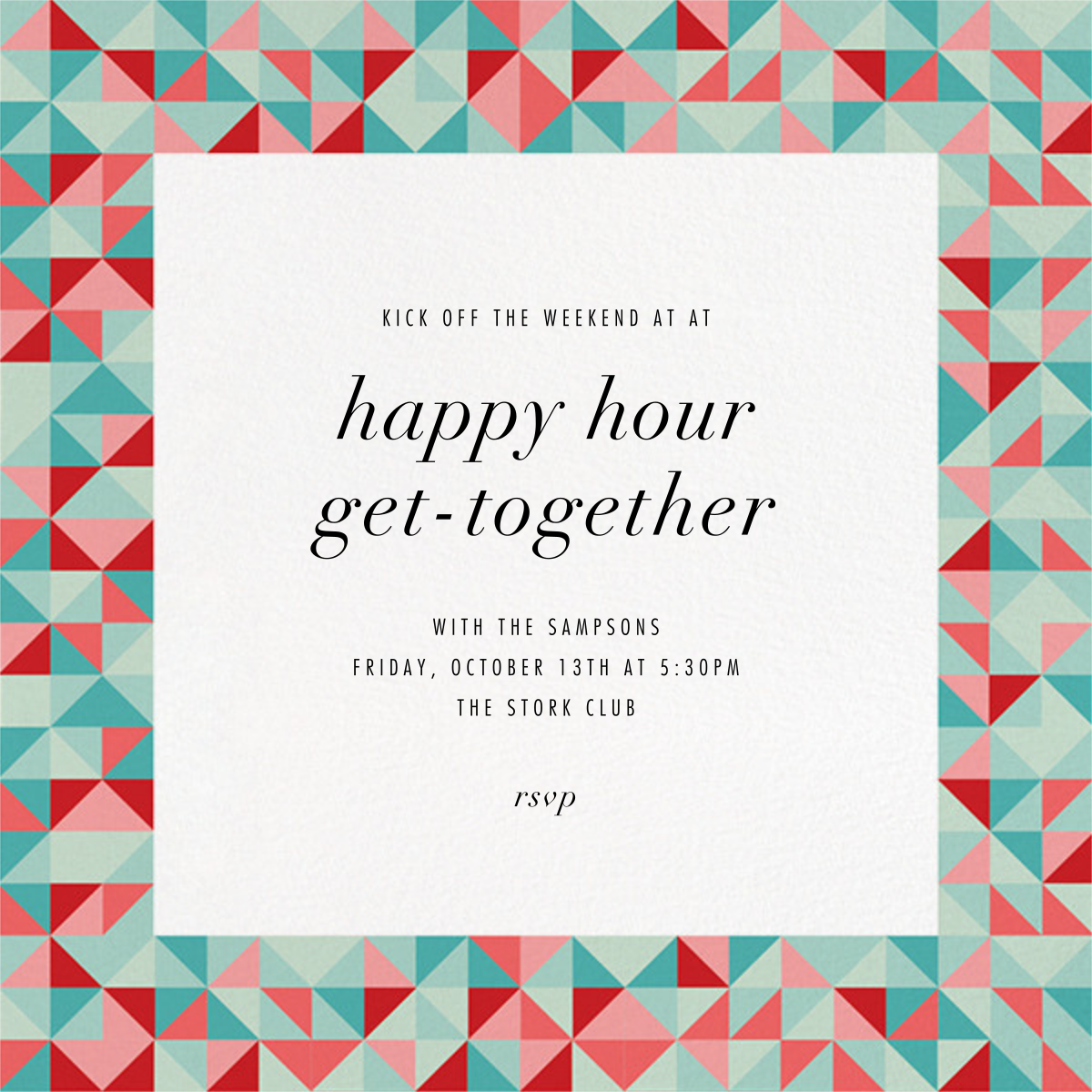 Quilt Block - Paperless Post - Happy hour
