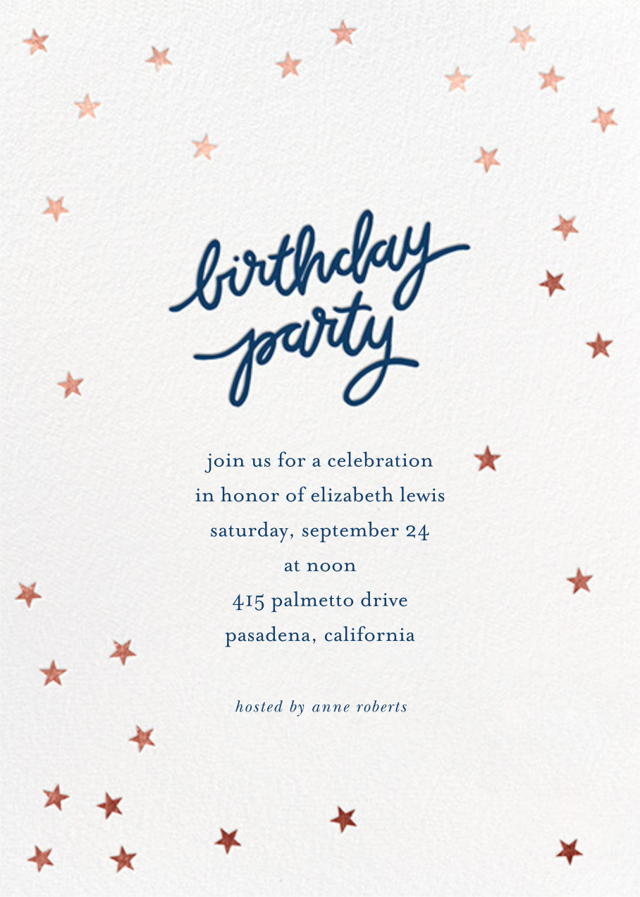 Birthday Stars - Dark Blue/Rose Gold - Sugar Paper - Adult birthday