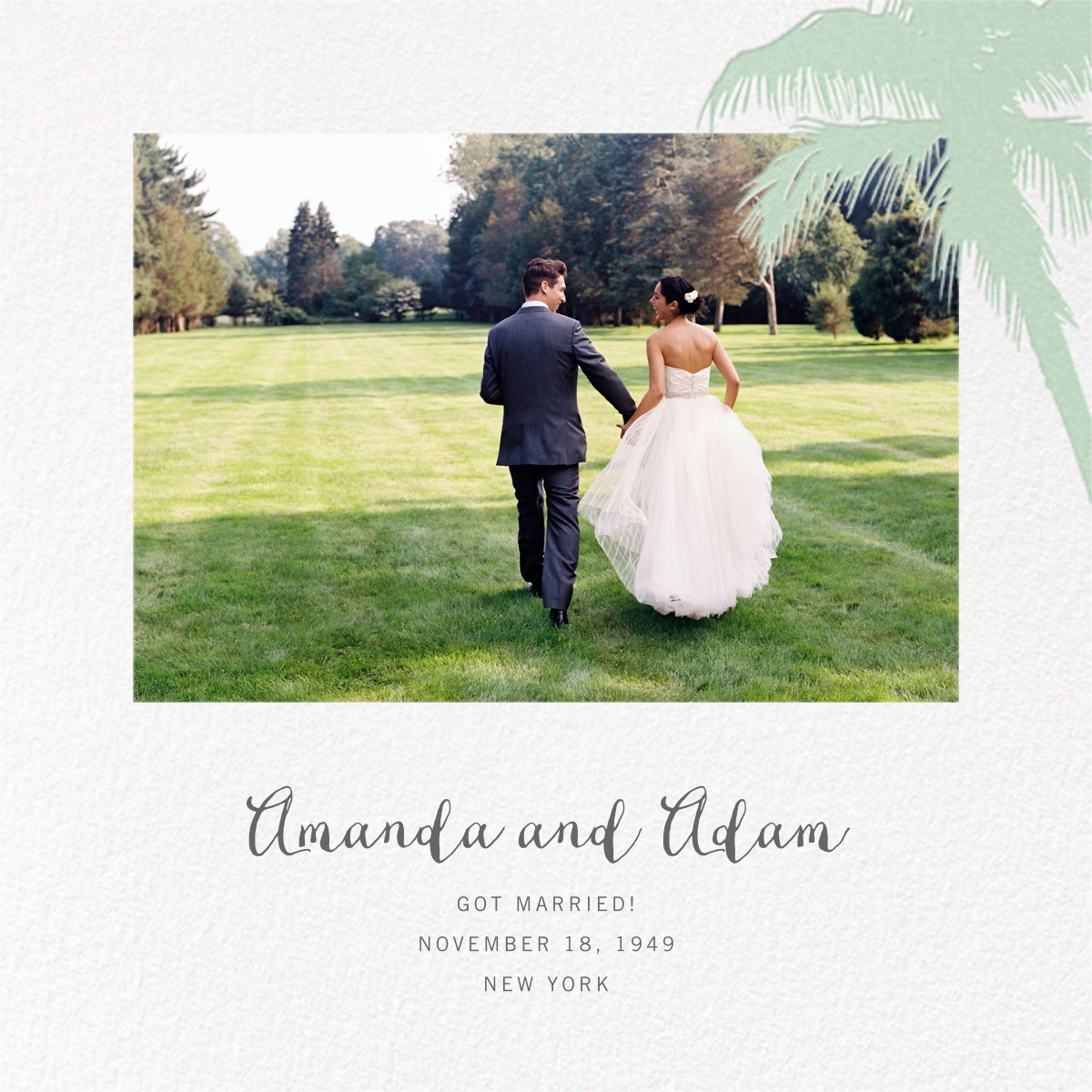 Tropical Palm (Photo Announcement) - Mint - Paperless Post - Wedding