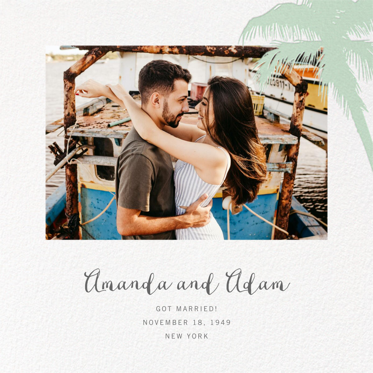Tropical Palm (Photo Announcement) - Mint - Paperless Post