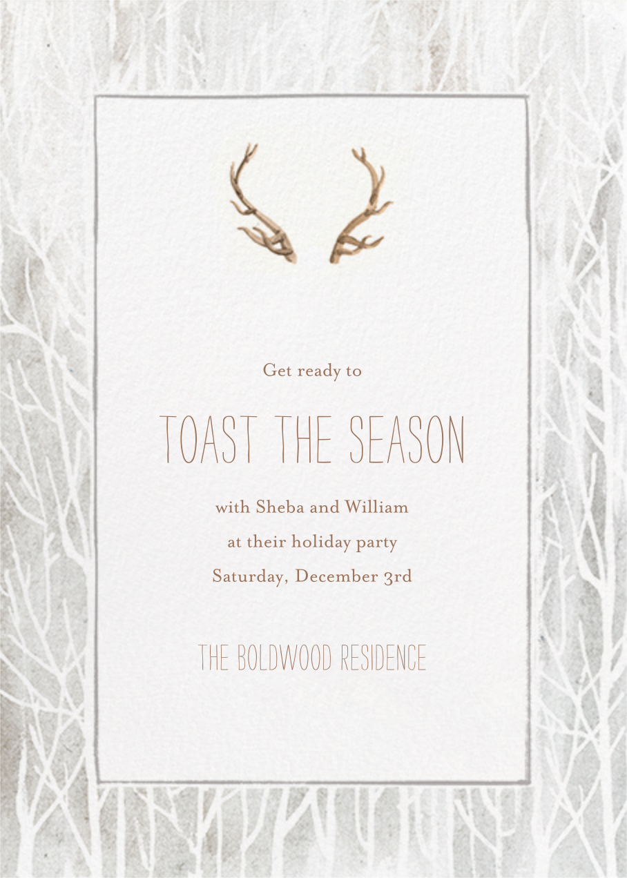 Antlers on the Mantle - Paperless Post - Holiday save the dates