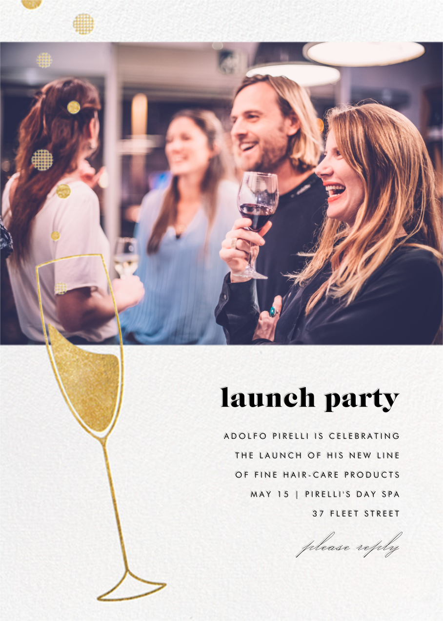Champagne Bubbles (Photo) - Gold - Paperless Post - Professional events