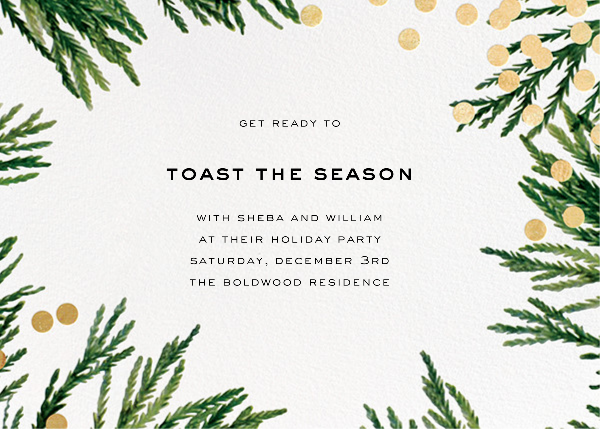 Confetti Branches - Gold - kate spade new york - Holiday save the dates