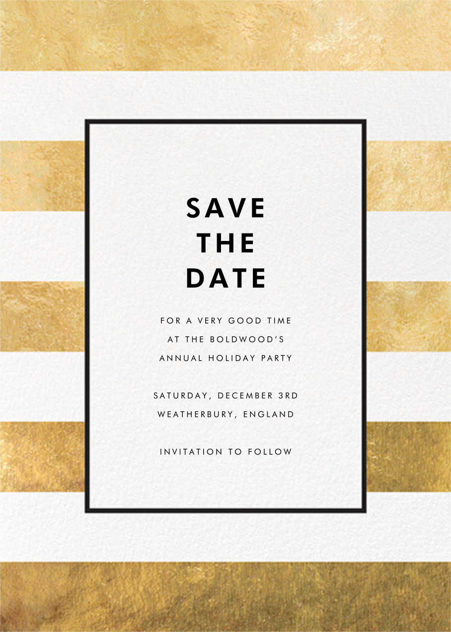 Stripe Suite (Save the Date) - Gold - kate spade new york - kate spade new york