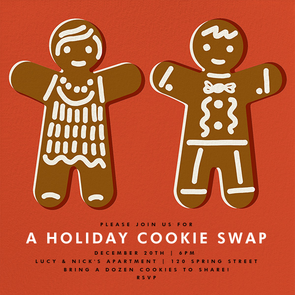 Gingerbread Invite - Blood Orange - The Indigo Bunting - Christmas party