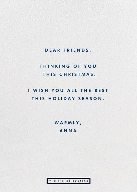 Snowballs - Greeting - The Indigo Bunting - Holiday cards - card back