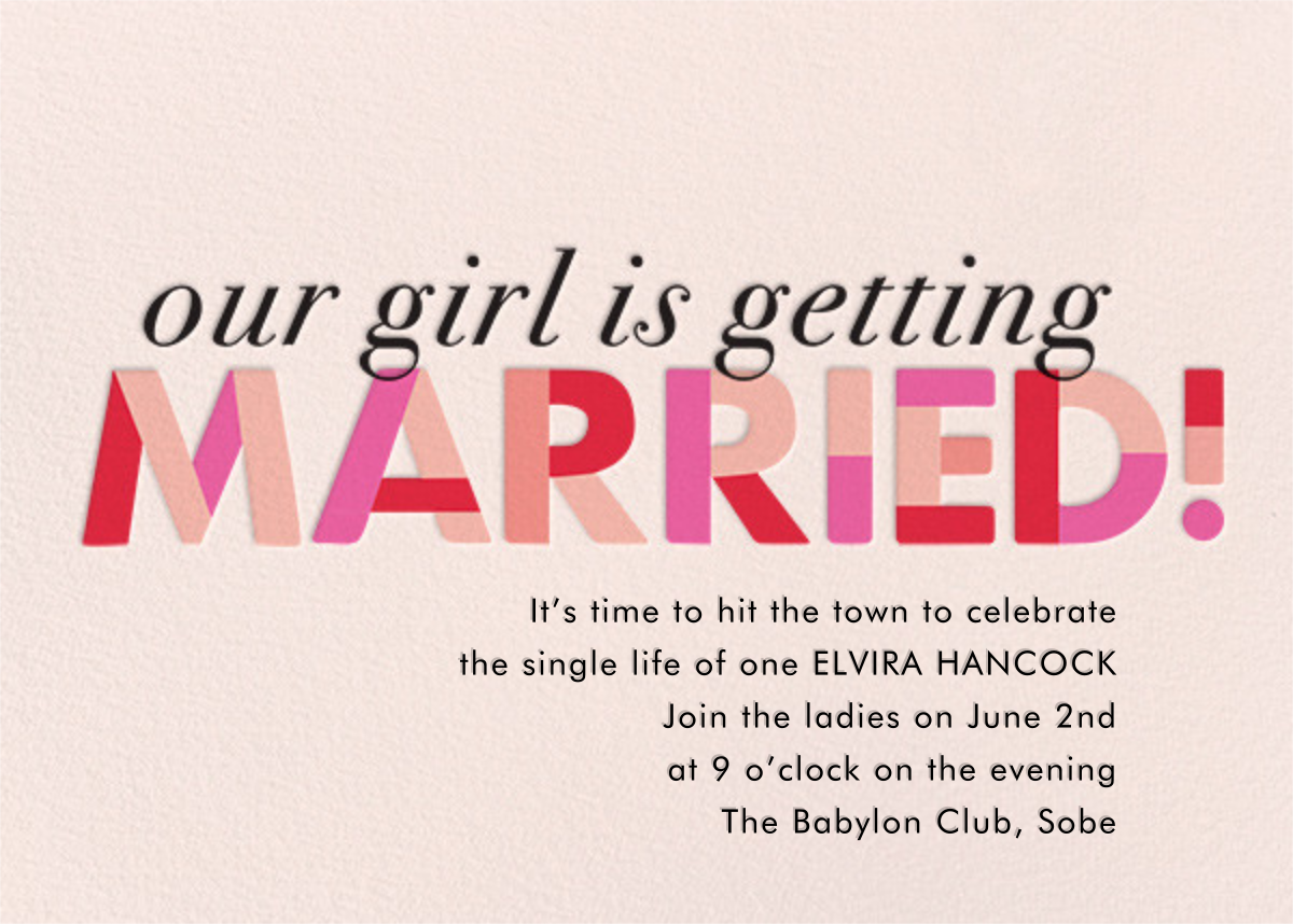 Our Girl's Getting Married - Paper Source - Printable invitations
